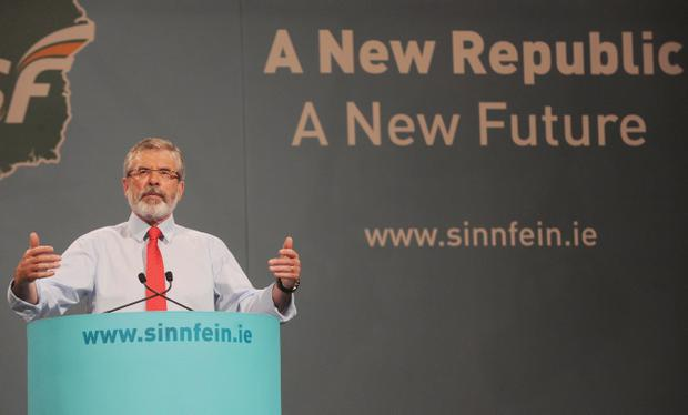 Sinn Fein Ard Fheis Day 2. President of Sinn Fein, Gerry Adams delivers his Presidential address at the end of the Party's Ard Fheis at the INEC, Killarney.