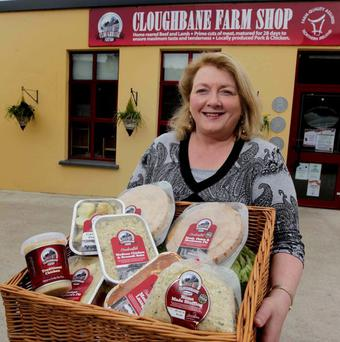 Lorna Robinson, MD of Cloughbane Farm Shop, proudly shows off some of her company's homegrown produce