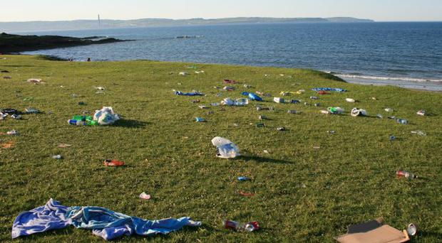 The rubbish at Helen's Bay after the party