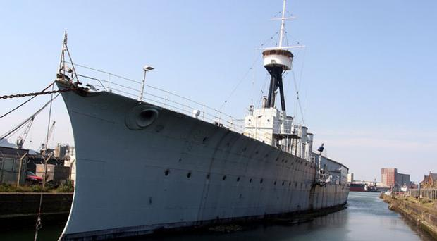 The HMS Caroline which is docked at Alexandra Dock. The ship was built 2 years after the Titanic.