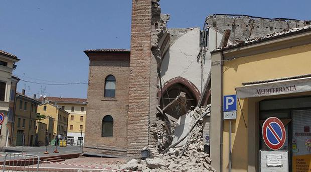 The collapsed San Francesco church in Mirandola, northern Italy, after an earthquake (AP)