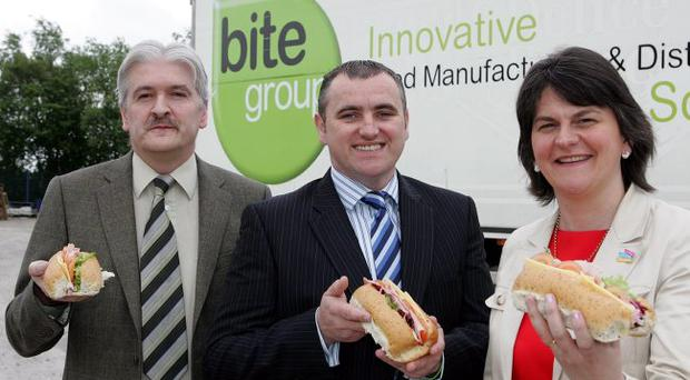 Arlene Foster with Michael Keogh, Bite Group managing director and Eric Johnston, the firm's general manager