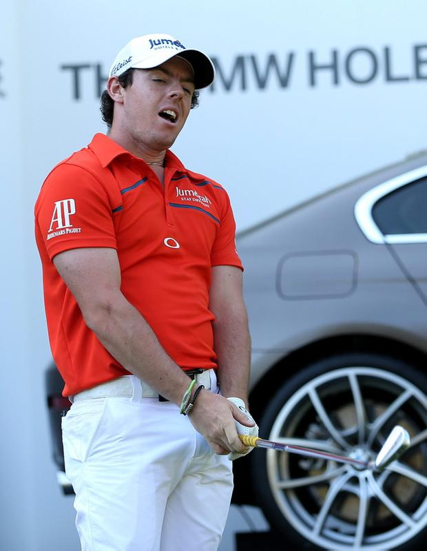 Northern Ireland's Rory McIlroy shows his frustration during the BMW PGA Championship at Wentworth Golf Club