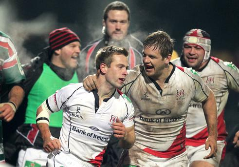 Heineken Cup, Ravenhill, Belfast 13/1/2012Ulster vs LeicesterUlster's Paul Marshall celebrates with Chris HenryMandatory Credit ©INPHO/Presseye/Darren Kidd *** Local Caption ***