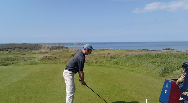 Peter Hutcheon takes aim on the magnificent course at Royal Portrush as the club prepares for the Irish Open