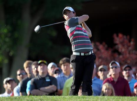 DUBLIN, OH - MAY 31: Rory McIlroy of Northern Ireland hits his tee shot on the par 4 10th hole during the first round of the Memorial Tournament presented by Nationwide Insurance at Muirfield Village Golf Club on May 31, 2012 in Dublin, Ohio. (Photo by Andy Lyons/Getty Images)