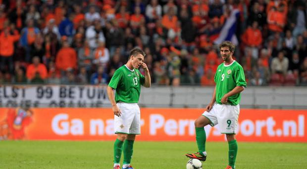 Northern Ireland's Josh Carson and Will Grigg