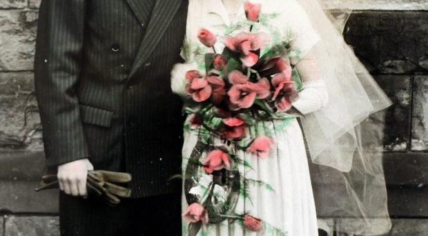 Mary and Richard Russell on their wedding day in 1952