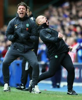 Alan Thompson (left) was dismissed by Neil Lennon over the telephone after he refused to meet with the Celtic manager, according to the Parkhead club