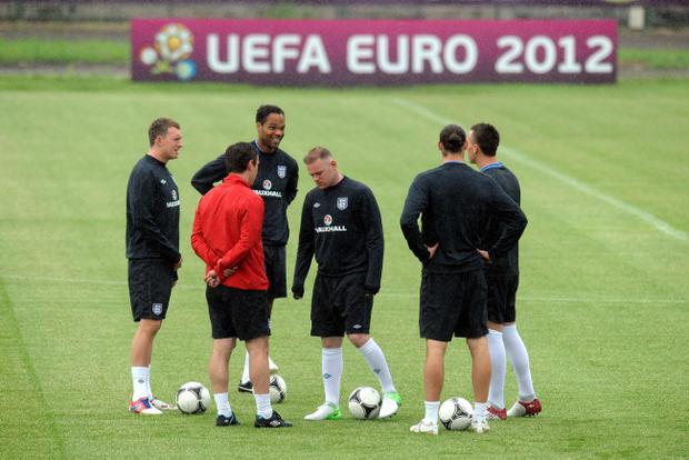England's Wayne Rooney (centre) during a Training Session at the Stadion Suche Stawy, Krakow, Poland