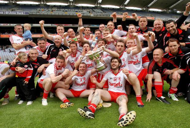 The Tyrone squad celebrate beating Fermanagh in the Lory Meagher final at Croke Park