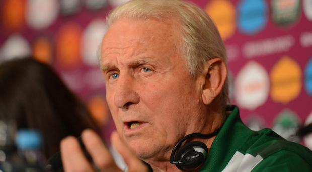 GDANSK, POLAND - JUNE 13: In this handout image provided by UEFA, Ireland coach Giovanni Trapattoni talks to the media during a UEFA EURO 2012 press conference at the Municipal Stadium on June 13, 2012 in Gdansk, Poland. (Photo by Handout/UEFA via Getty Images)