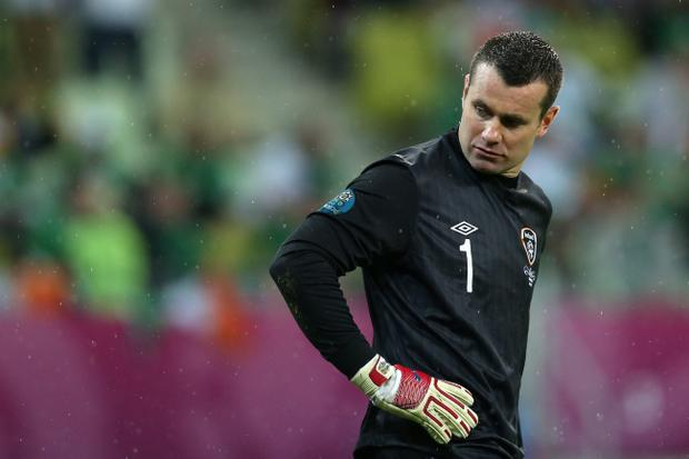 GDANSK, POLAND - JUNE 14: Shay Given of Republic of Ireland looks on during the UEFA EURO 2012 group C match between Spain and Ireland at The Municipal Stadium on June 14, 2012 in Gdansk, Poland. (Photo by Alex Grimm/Getty Images)