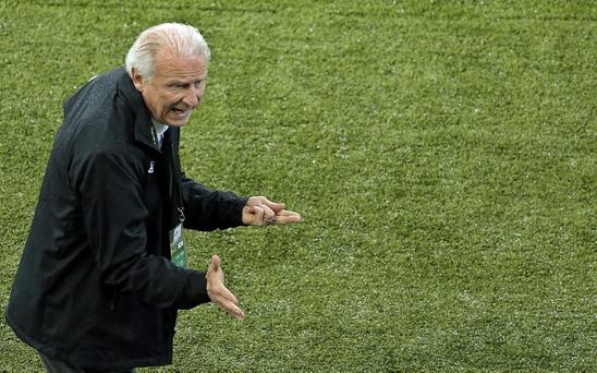 Republic of Ireland coach Giovanni Trapattoni reacts during the Euro 2012 soccer championship Group C match between Spain and Ireland in Gdansk, Poland, Thursday, June 14, 2012. (AP Photo/Gero Breloer)