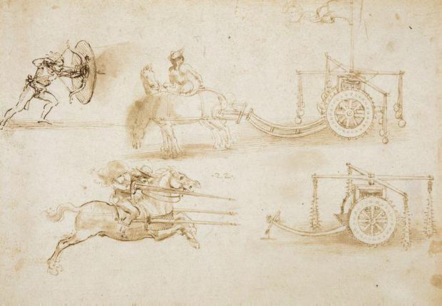 """DA Vinci's """"Designs for chariots and war weapons""""To celebrate the Diamond Jubilee of Her Majesty The Queen, ten of the Royal Collections finest drawings by the Renaissance master Leonardo Da Vinci will be shown at the Ulster Museum this summer from Friday 15 June - Monday 27 August. The exhibition has been selected to show the extraordinary scope of Leonardos interests painting and sculpture, engineering, botany, mapmaking, hydraulics and anatomy.Almost all Leonardos great projects were never completed and it is through his drawings, such as the magnificent examples included in this exhibition, that we gain a greater understanding of his remarkable achievements."""