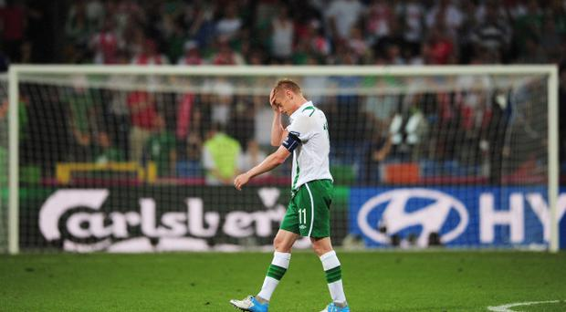 POZNAN, POLAND - JUNE 18: Dejected Damien Duff of Republic of Ireland after defeat in the UEFA EURO 2012 group C match between Italy and Ireland at The Municipal Stadium on June 18, 2012 in Poznan, Poland. (Photo by Jamie McDonald/Getty Images)