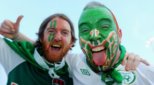 POZNAN, POLAND - JUNE 18: Ireland fans enjoy the atmosphere ahead of the UEFA EURO 2012 group C match between Italy and Ireland at The Municipal Stadium on June 18, 2012 in Poznan, Poland. (Photo by Christof Koepsel/Getty Images)