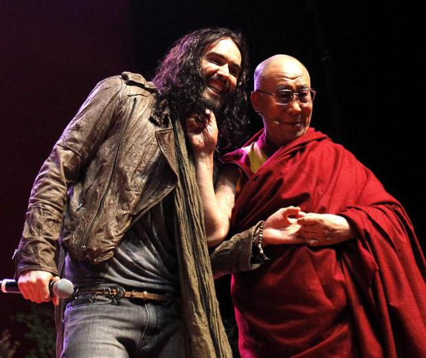 Russell Brand and The Dalai Lama at a youth event in Manchester
