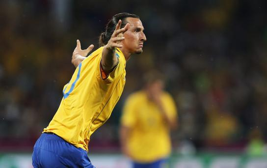 KIEV, UKRAINE - JUNE 19: Zlatan Ibrahimovic of Sweden celebrates his goal during the UEFA EURO 2012 group D match between Sweden and France at The Olympic Stadium on June 19, 2012 in Kiev, Ukraine. (Photo by Julian Finney/Getty Images)