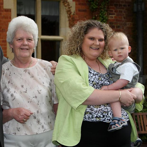 Lesley Brown (left), mother of the world's first test tube baby Louise, seen here in 2008 with grandson Cameron