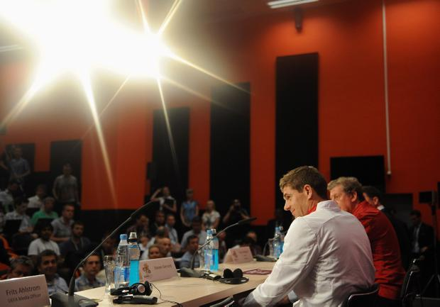 Steven Gerrard faces reporters during a Euro 2012 press conference