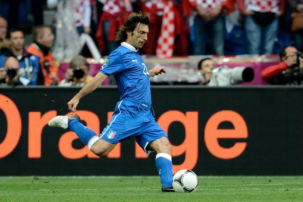 POZNAN, POLAND - JUNE 14: Andrea Pirlo of Italy scores the first goal from a freekick during the UEFA EURO 2012 group C match between Italy and Croatia at The Municipal Stadium on June 14, 2012 in Poznan, Poland. (Photo by Claudio Villa/Getty Images)