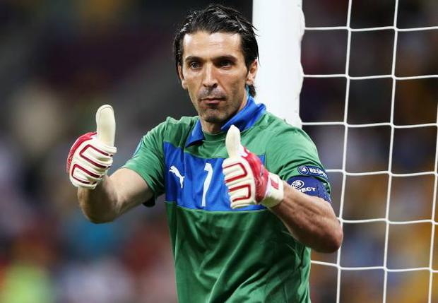 Gianluigi Buffon of Italy celebrates during the UEFA EURO 2012 quarter final match between England and Italy at The Olympic Stadium on June 24, 2012 in Kiev, Ukraine. (Photo by Scott Heavey/Getty Images)