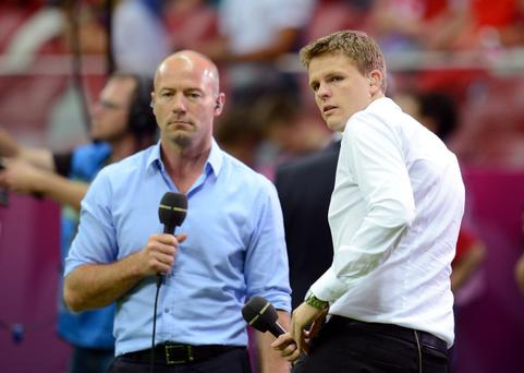 WARSAW, POLAND - JUNE 21: BBC pundit Alan Shearer and BBC TV presenter Jake Humphrey ahead of the UEFA EURO 2012 quarter final match between Czech Republic and Portugal at The National Stadium on June 21, 2012 in Warsaw, Poland. (Photo by Shaun Botterill/Getty Images)