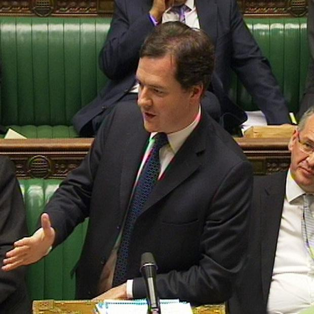 Chancellor of the Exchequer George Osborne issues a statement in the House of Commons