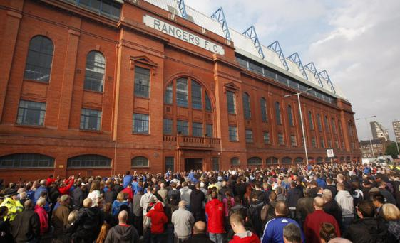 Rangers fans protest during a demonstration outside Ibrox Stadium, Glasgow on Wednesday