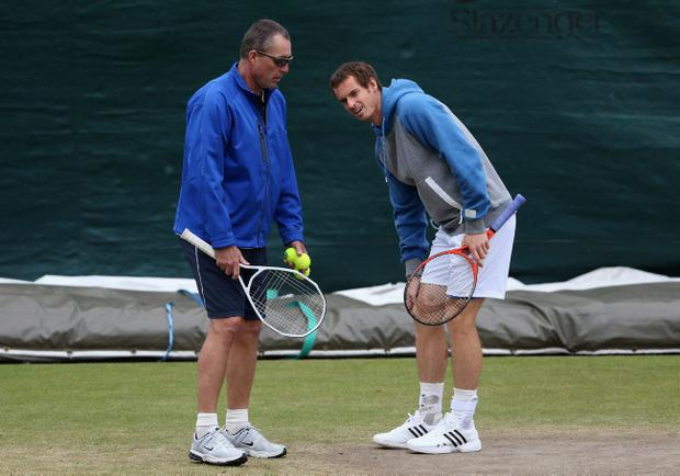 LONDON, ENGLAND - JULY 01: Andy Murray of Great Britain (R) with coach Ivan Lendl during a practice session at Wimbledon on July 1, 2012 in London, England. (Photo by Julian Finney/Getty Images)