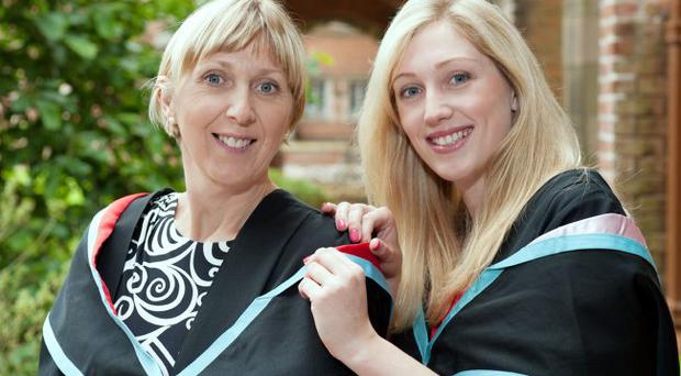 Ashleigh Hyland with mum Michele getting ready for her ceremony