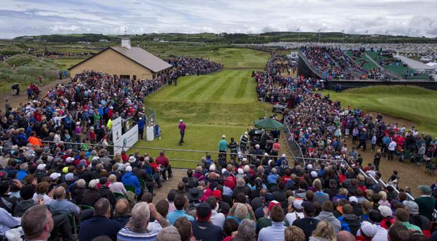 Padraig Harrington tees off at Royal Portrush in what has been a massively successful tournament