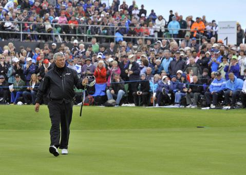 Darren Clarke acknowledges the fans on the final day of the Irish Open at Portrush