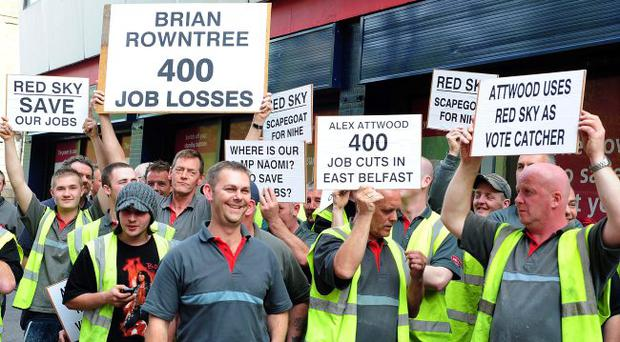 Contract ended: Red Sky workers protesting outside the Housing Executive's office in Adelaide Street in Belfast last year