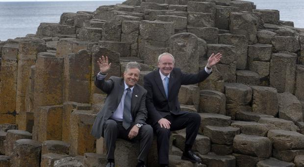 First Minister Peter Robinson and deputy First Minister Martin McGuinness pictured at the Giants Causeway during their visit to the newly opened visitor centre