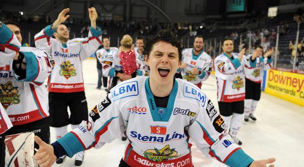 Craig Peacock celebrates the Belfast Giants' league title win last season and he's looking for a repeat