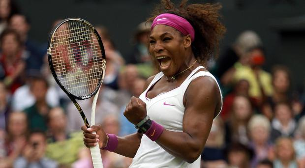 LONDON, ENGLAND - JULY 03: Serena Williams of the USA reacts after winning her Ladies' Singles quarterfinal match against Petra Kvitova of Czech Republic on day eight of the Wimbledon Lawn Tennis Championships at the All England Lawn Tennis and Croquet Club on July 3, 2012 in London, England. (Photo by Clive Brunskill/Getty Images)