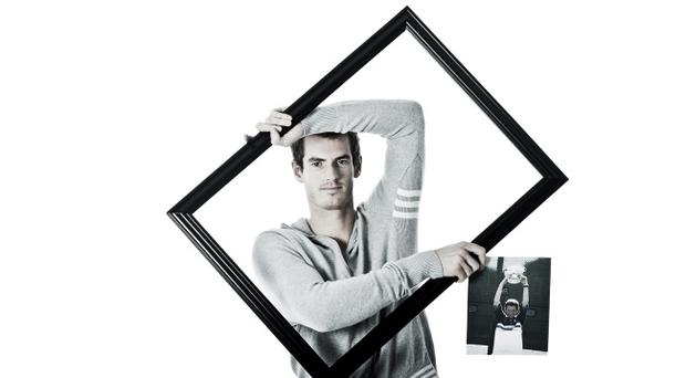 Andy Murray posing with a picture of himself as a child to help launch the ITF's official Olympic book to help promote the 2012 London Olympic and Paralympic tennis events