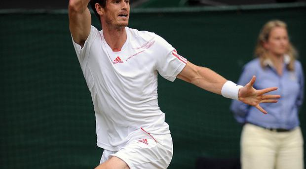 Andy Murray on his way to victory over David Ferrer at Wimbledon
