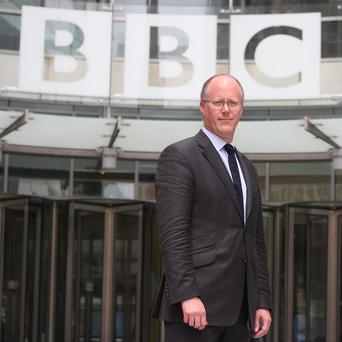 New director-general of the BBC George Entwistle outside the new Broadcasting House in central London