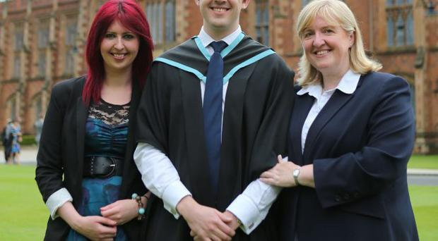 The UK Universities Brightest Business Brain, David Galbraith (centre) from East Belfast, graduated from Queens University today (Wednesday 4 July). He is now set to embark on a prestigious entrepreneur programme, which will see him spend the next year working with Ranjit Boporan, Chief Executive of the 2 Sisters Food Group in Birmingham. The programme will also give David the opportunity to have one-to-one meetings with the likes of David Cameron and Richard Branson. David celebrated his graduation alongside his sister Amy (left) and mum Debbie (right).
