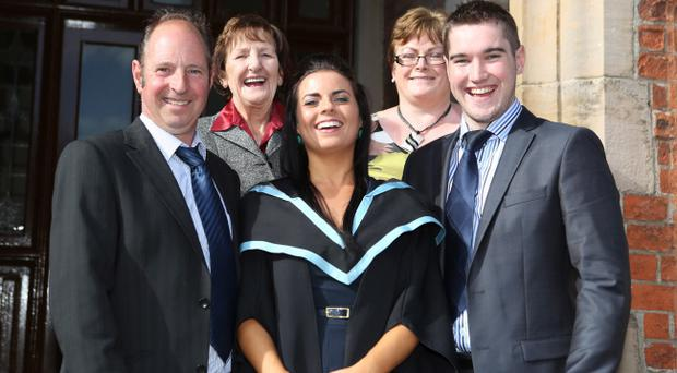Carla Wylie, Lisburn, was awarded The Edward and Ann Smyth Prize for Academic Excellence in Learning Disability Nursing during the School of Nursing and Midwifery Graduation ceremony on Wednesday night. Carla was joined by her parents Beatrice and Desie, her nanny Patricia Mccausland and boyfriend Stewart Mitchell.