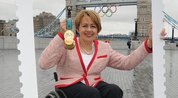 Tanni Grey-Thompson, 11-time Paralympic gold medallist, promotes stamps depicting every British athlete who wins gold at the London Paralympics