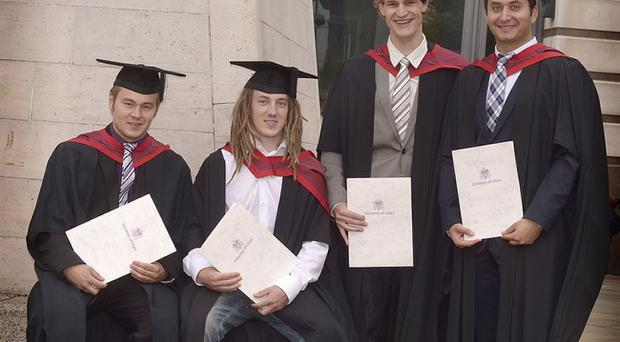 from left, Florian Heringer, Phillipp Marek, Roland Singer, and Volkan Kaisa, all from germany, received Masters in Engineering.