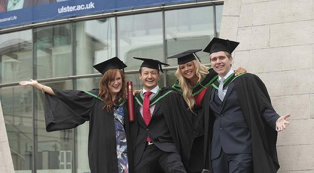 Ashleigh O'Neill from Belfast, Gavin Williamson from Ballyclare, Laura Blair from Ballymoney and Christopher Millar from Banbridge all graduated today with BSc Hons Marketing.