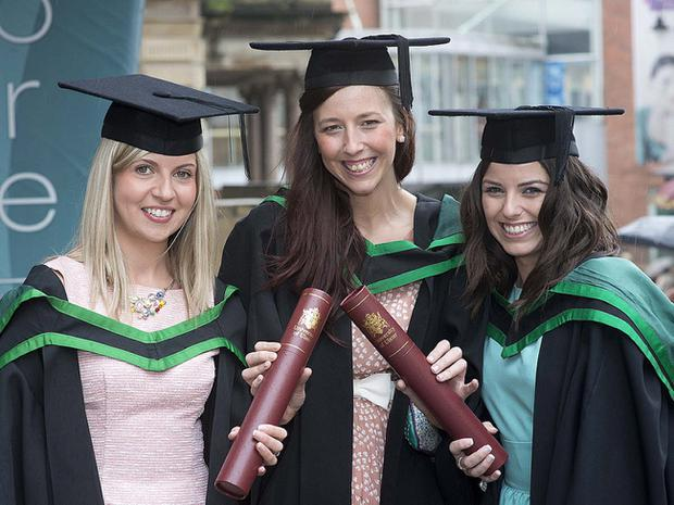 Emma Abraham and Charlene McCooe from Portadown and Sinead Rafferty from Dungannon all graduated with BSc Hons Social Work.