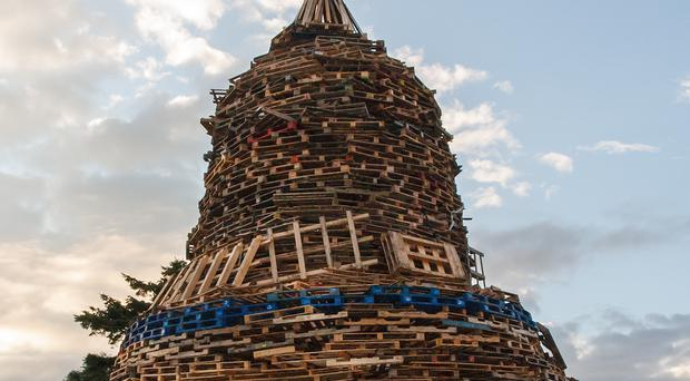 A bonfire at Ballymacash Estate Lisburn. Photo by Barry Clarke