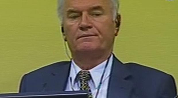 Former Bosnian Serb military chief Ratko Mladic in the courtroom in The Hague, Netherlands (AP/ICTY VIDEO)