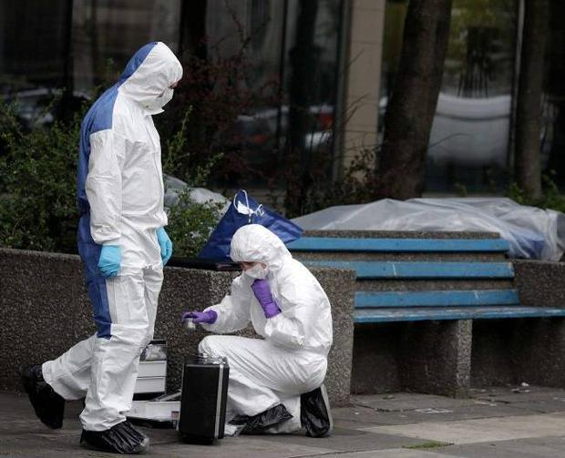 Forensic experts pictured at scene of an alleged rape which happened in the early hours of Wednesday morning at the junction of Donegall Street and York Street in Belfast City Centre. Northern Ireland- 11th July 2012 Photo-Jonathan Porter/Presseye.